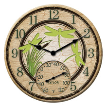 Load image into Gallery viewer, 12-Inch Dragonflies Clock with Thermometer - Northwest Homegoods