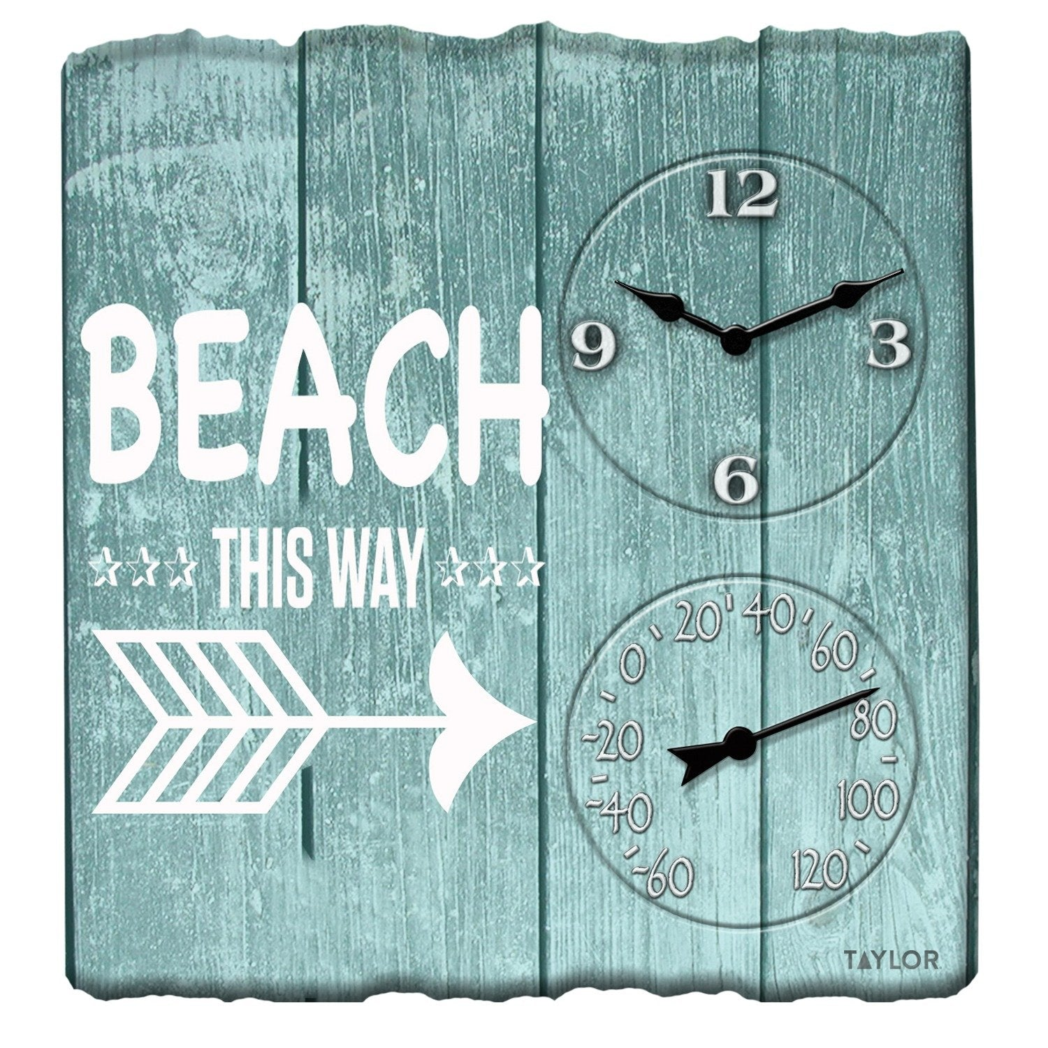 14-Inch x 14-Inch Beach This Way Clock with Thermometer - Northwest Homegoods