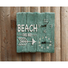 Load image into Gallery viewer, 14-Inch x 14-Inch Beach This Way Clock with Thermometer - Northwest Homegoods