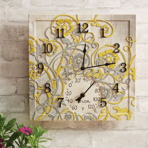 14-Inch x 14-Inch Beachwood Clock with Thermometer - Northwest Homegoods