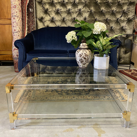 SALONTAFEL VINTAGE HOLLYWOOD REGENCY GLAS & MESSING