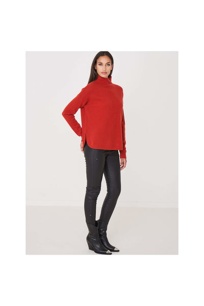 High Neck Cashmere Sweater With Round Hem - Meridian