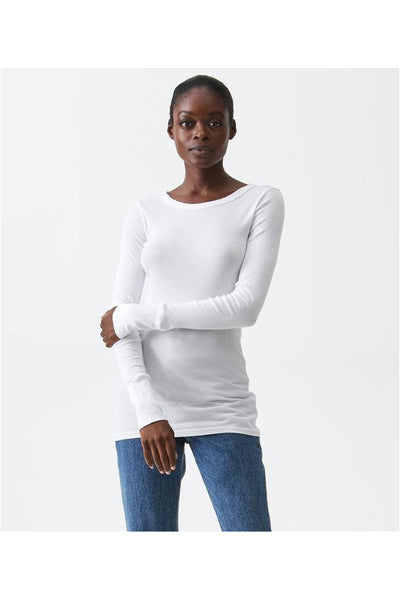Supima Long Sleeve Raw Edge Tee - Meridian