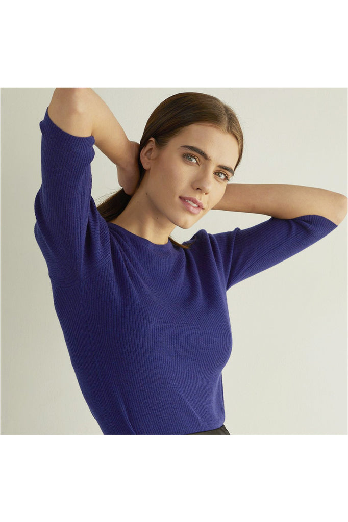 Ribbed Elbow Puff Sleeve Crew - Meridian