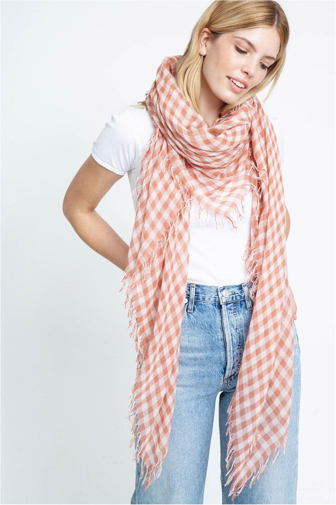 Cedar Wood Gingham Cashmere And Silk Scarf - Meridian
