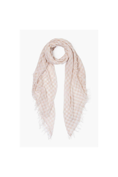 Moonlight White Gingham Cashmere And Silk Scarf - Meridian