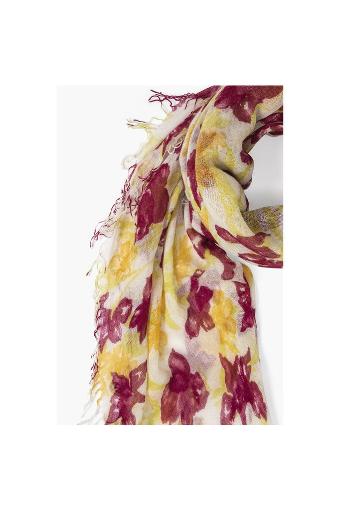 Coconut Milk Summer Iris Print Cashmere And Silk Scarf - Meridian