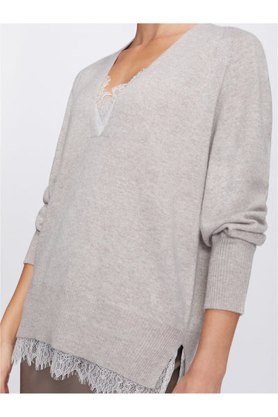 The Lace Vee Looker Pullover - Meridian