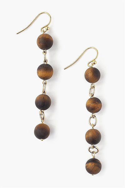 Matte Tiger's Eye Drop Earrings - Meridian