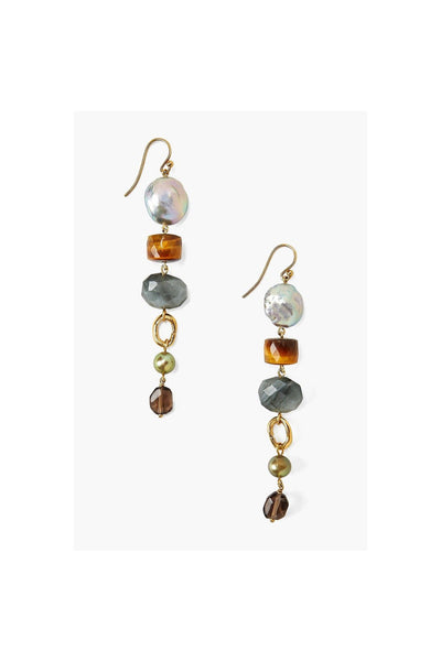 Mixed Modern Peacock Pearl Drop Earrings - Meridian