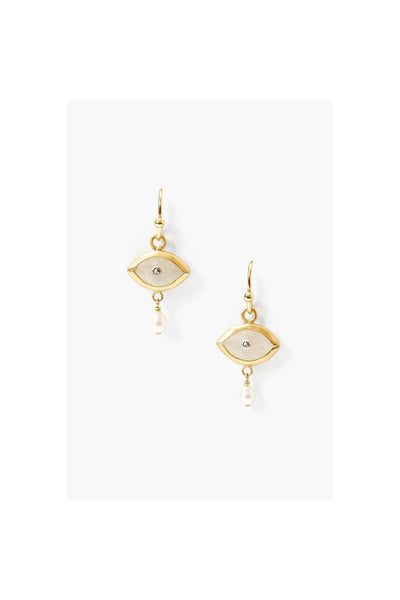 Pearl And Rainbow Moonstone Evil Eye With Champagne Diamond Earrings - Meridian