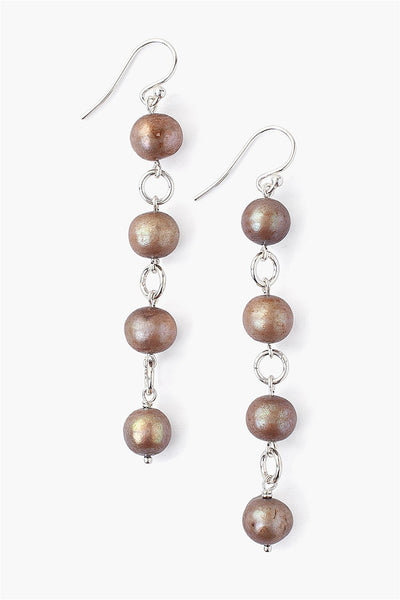 Dark Champagne Pearl Drop Earrings - Meridian