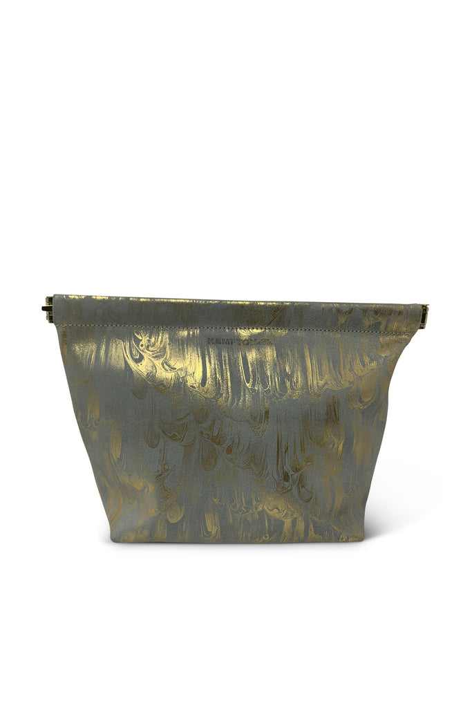 Aqua & Gold Marbled Snap Makeup Bag - Meridian