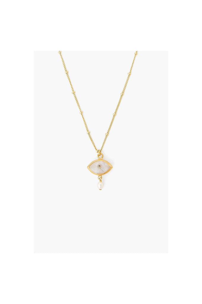 Pearl And Rainbow Moonstone Evil Eye With Diamond Necklace - Meridian