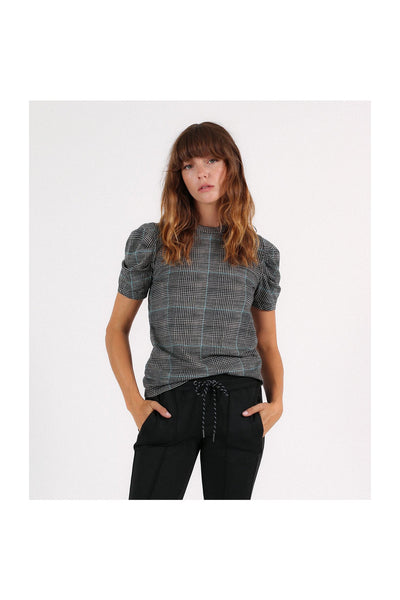 Glen Plaid Puff Sleeve Tee - Meridian