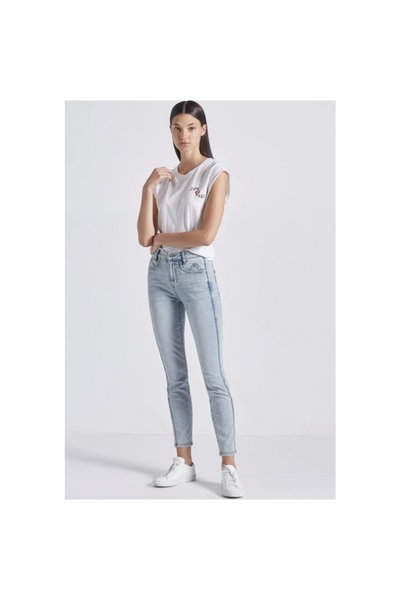 The 7-Pocket High Waist Ankle Skinny Stiletto Jean - Meridian