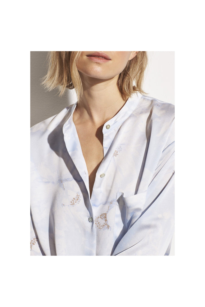 Painted Magnolia Band Collar Blouse - Meridian