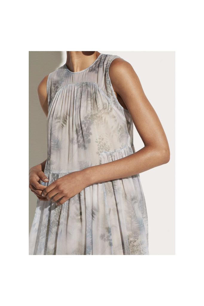Botanical Shirred Silk Dress - Meridian
