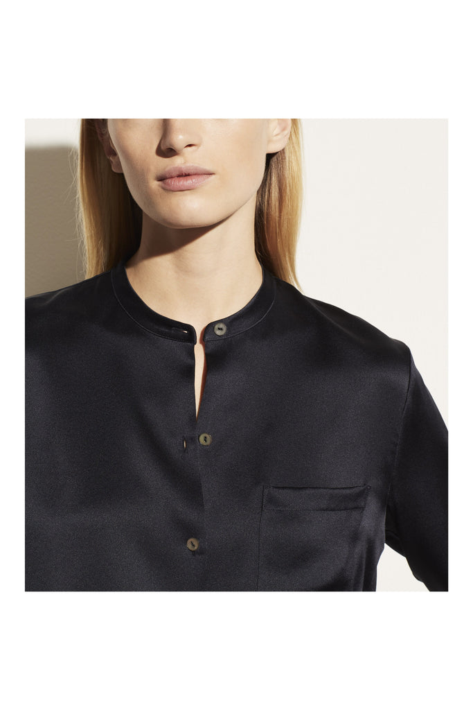Slim Satin Band Collar Blouse - Meridian