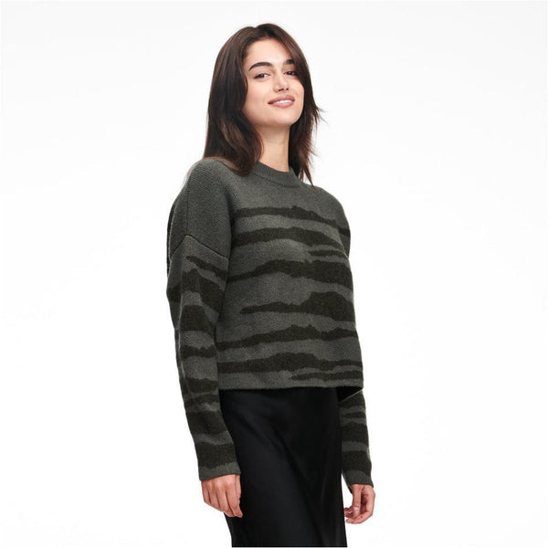 Wool Cashmere Tiger Stripe Crewneck Sweater - Meridian