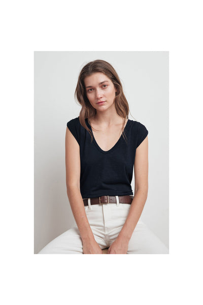 Jayden Cotton Slub Scoop Neck Tee - Meridian