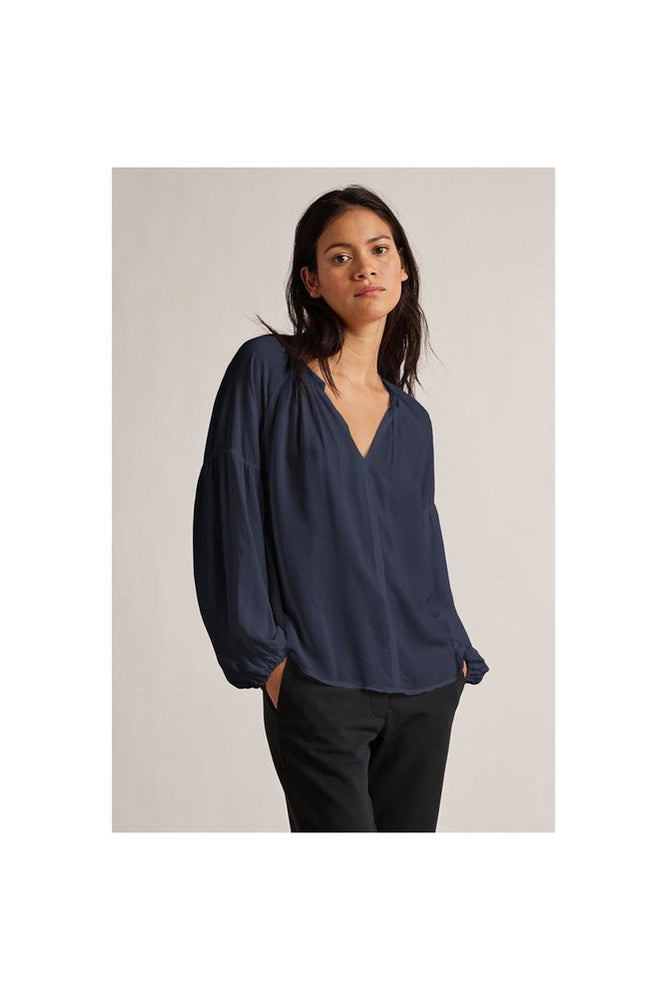 Elaine Rayon Challis Long Sleeve Peasant Top - Meridian
