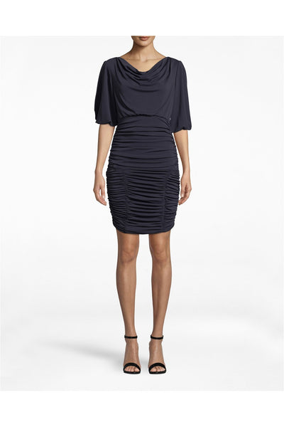 Stretchy Matte Jersey Ruched Dress - Meridian