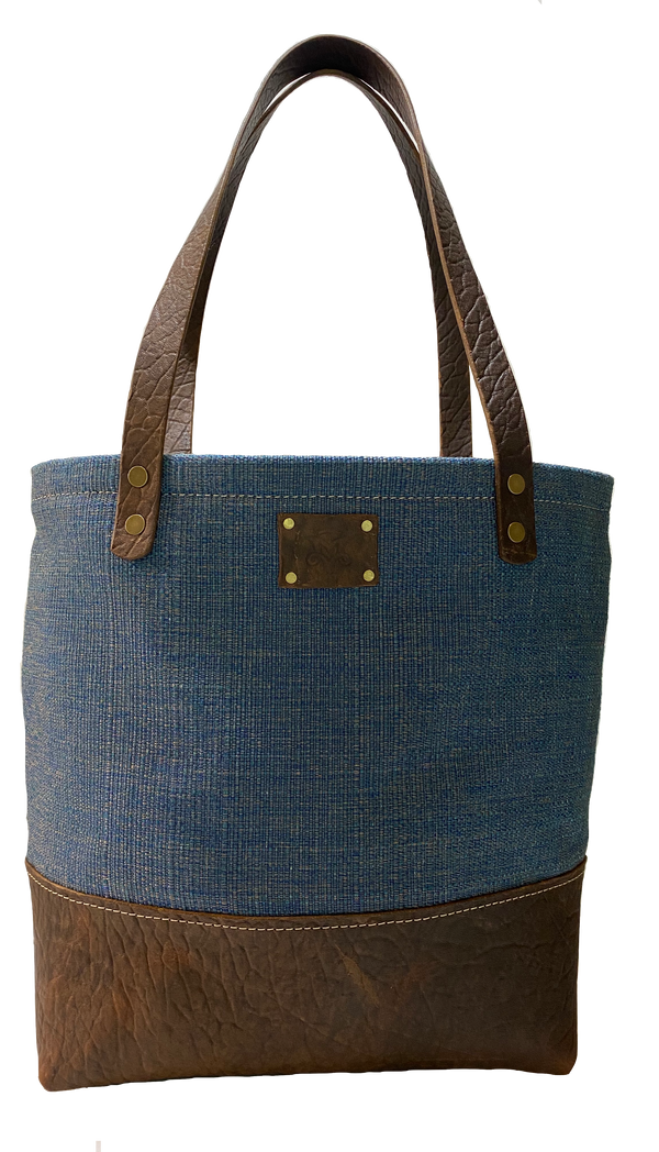 The Weekender Tote in Blue Tweed