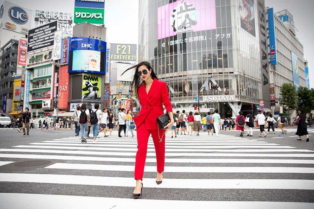 How To Rock A Red Suit For Women in Tokyo, Japan