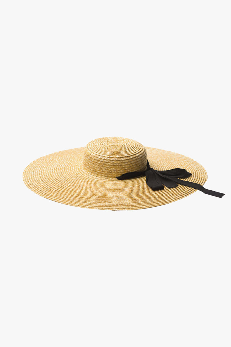 Bow Embellished Straw Hat