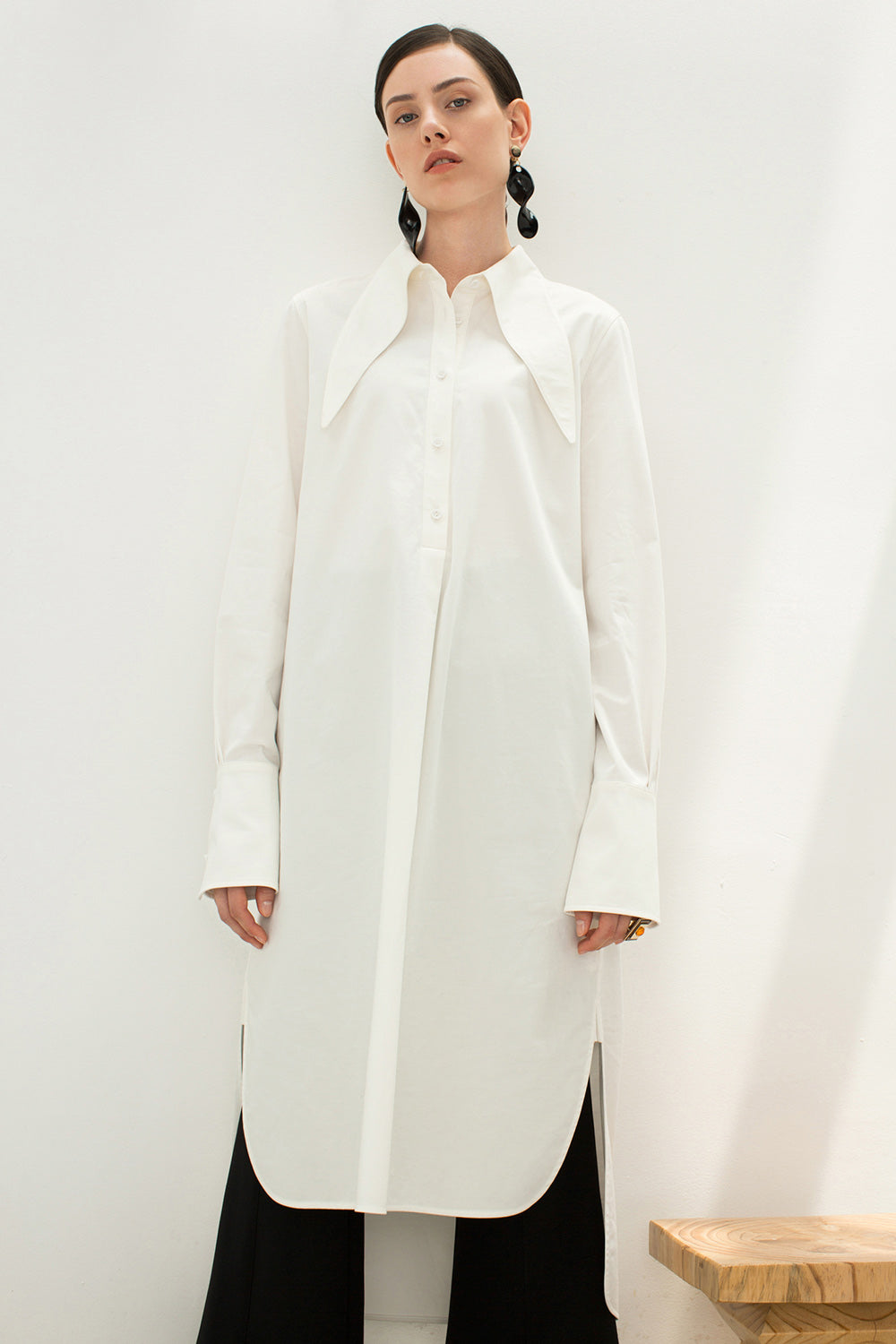 Long White Cotton Shirt Dress