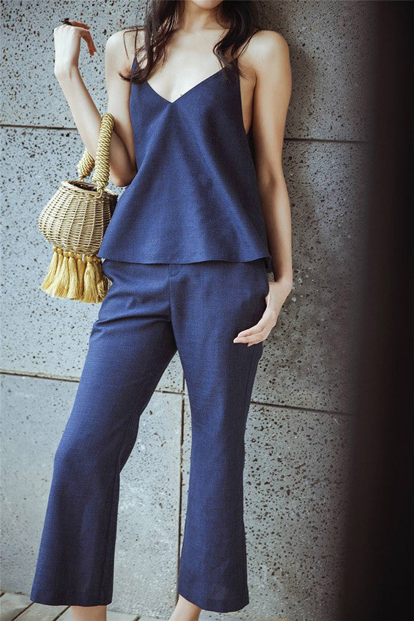 Flare Tank and Bell Bottom Pants Set