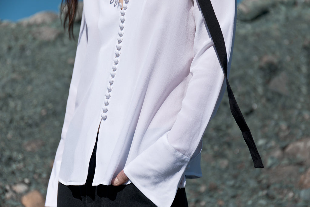 White Silk Button Shirt