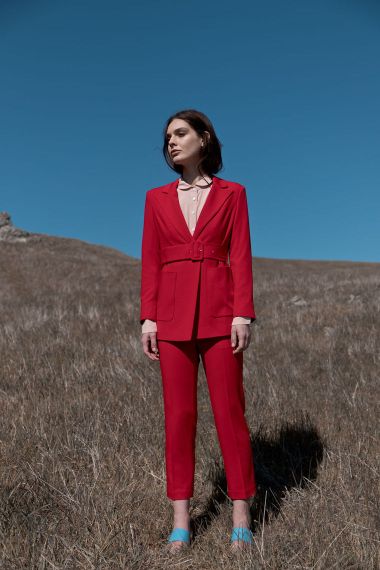 Classic Mid Rise Suit Pants in Red