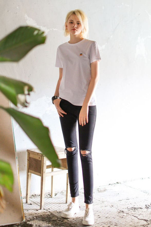 Black Wash High Waist Skinny Rip Jeans