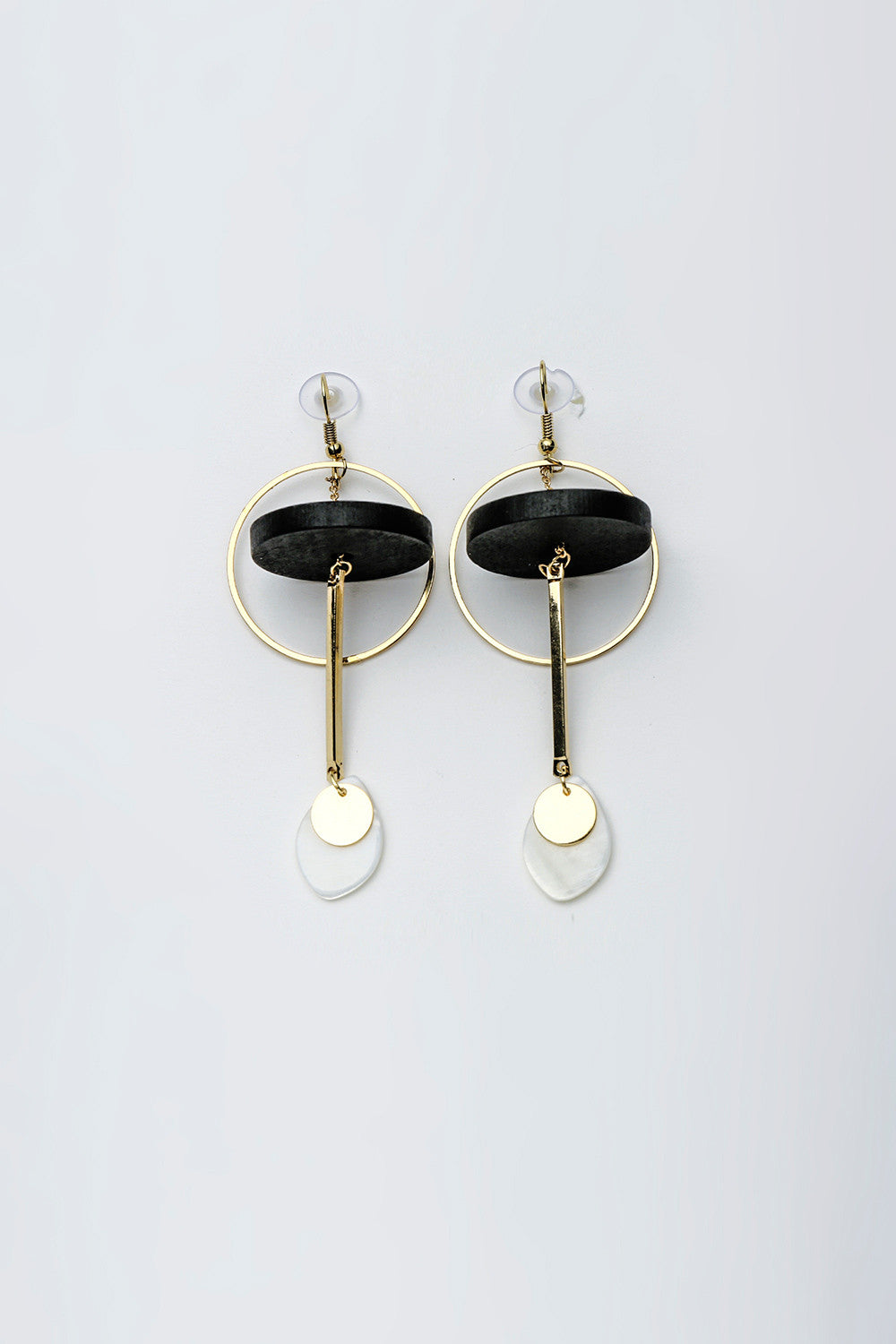 Round Hoop Drop Earrings