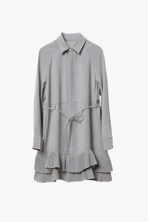 Button Front Ruffle Shirt Dress