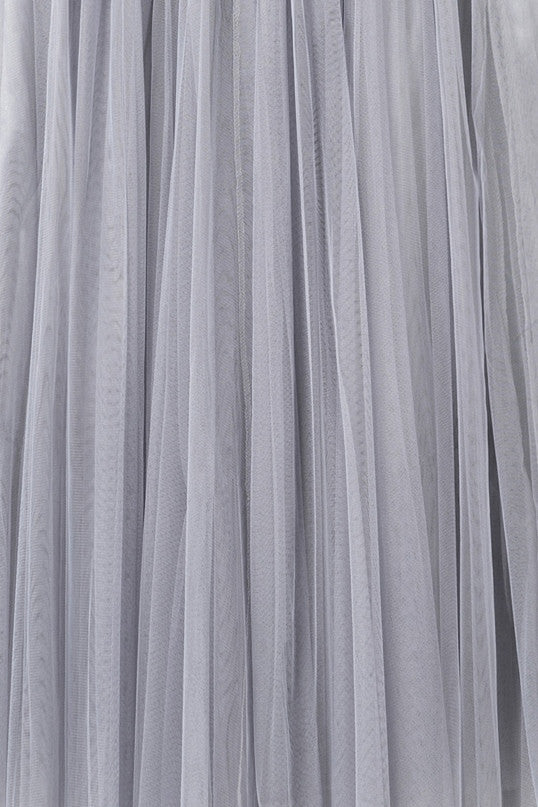 Gray Tulle Midi Skirt