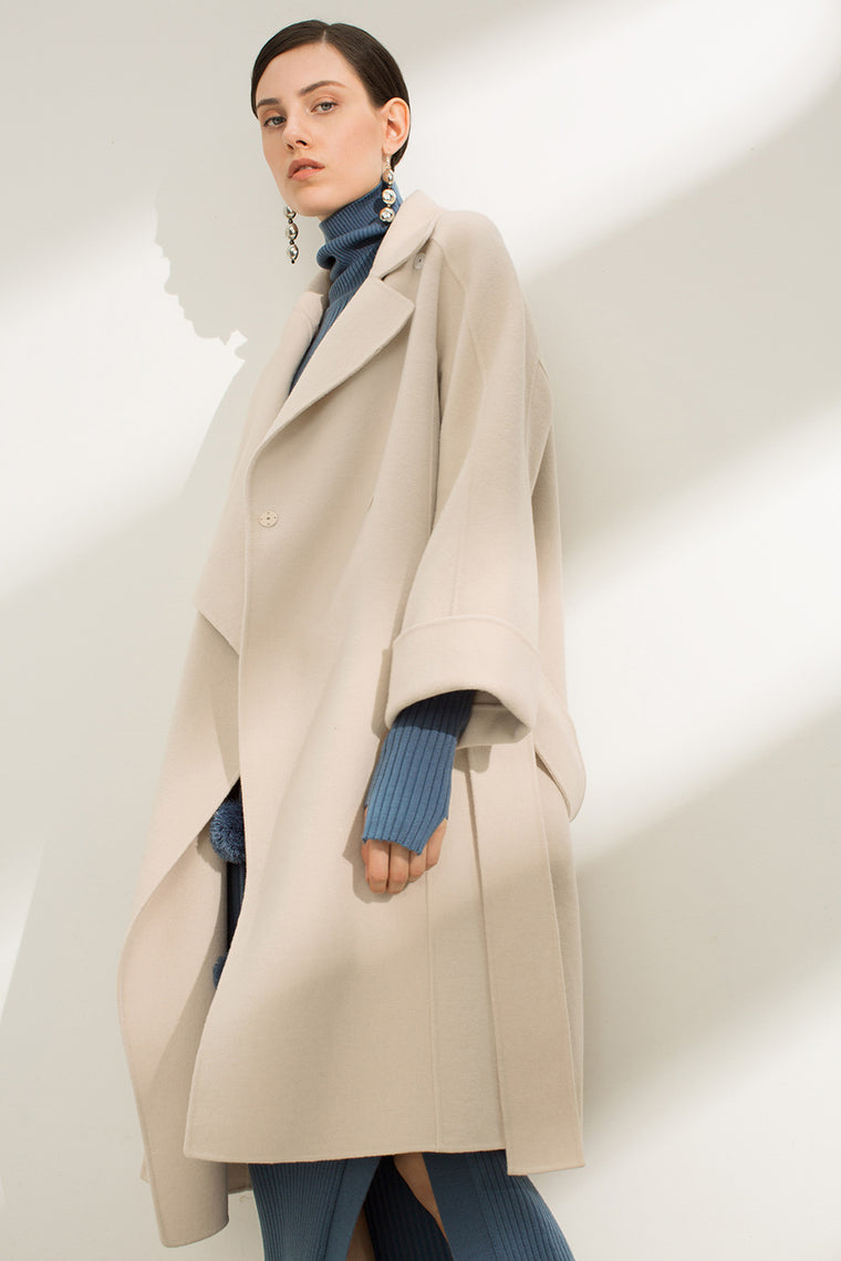 Wide Sleeve Wool Wrap Coat