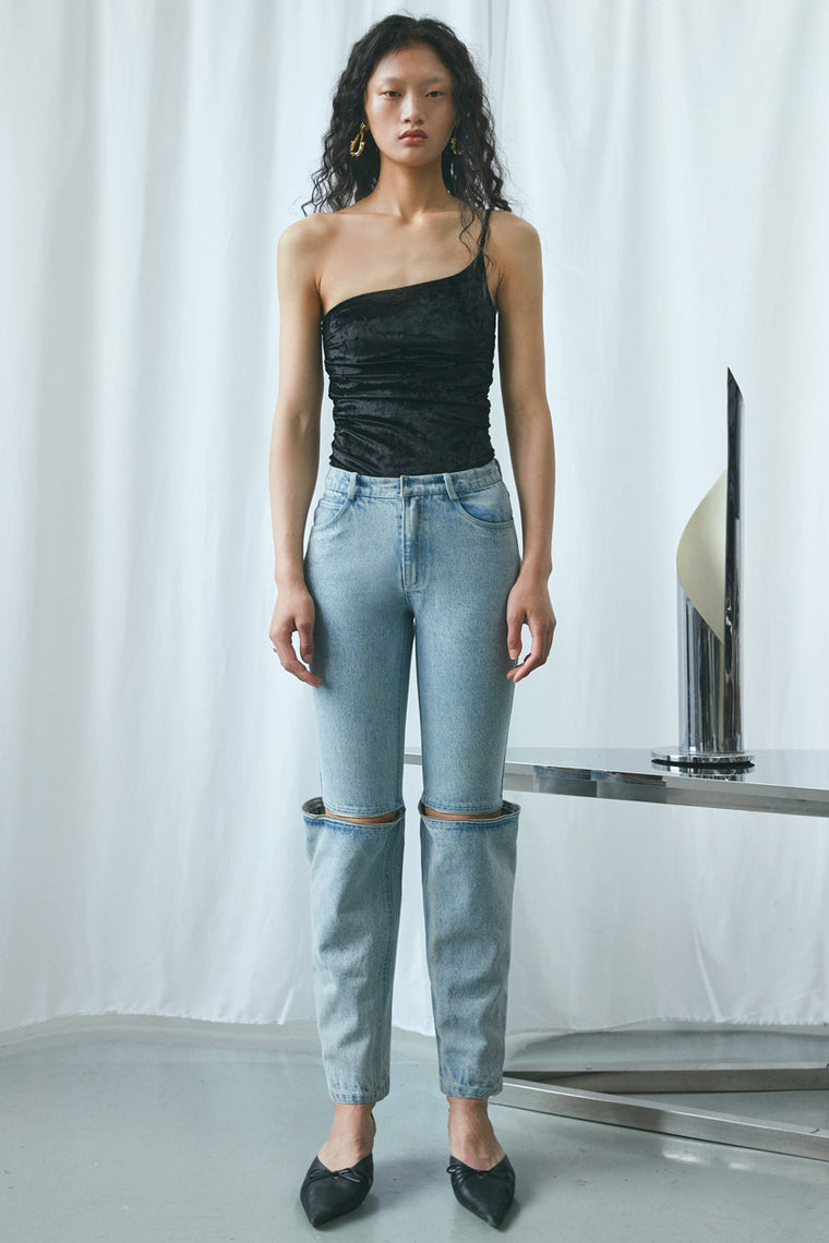Straight Leg Zipper Jeans