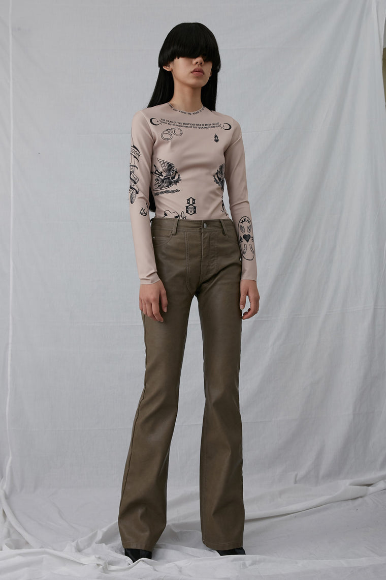 Mid-Rise Faux Leather Slim Pants