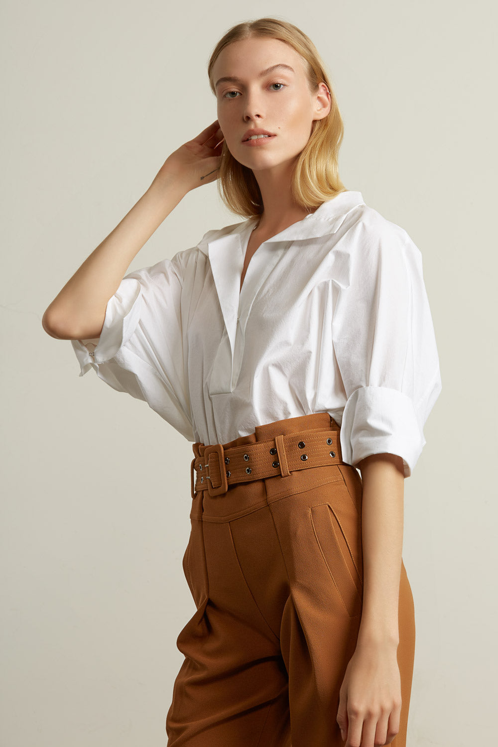 Crop Dolman Sleeve Long Oversized Cotton Shirt