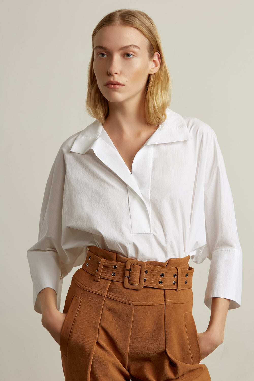 Cropped Dolman Sleeve Shirt