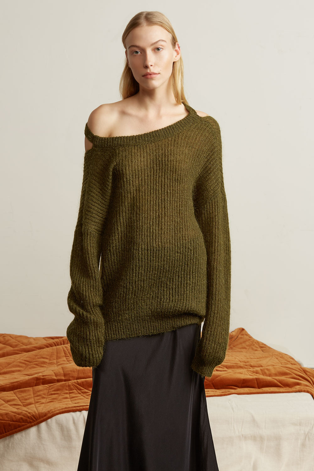 Cocoon Mohair Blend Cut Out Sweater