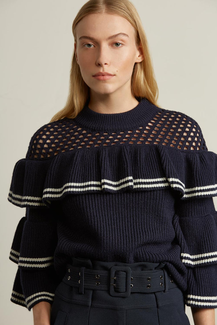 Net Ruffle Sweater