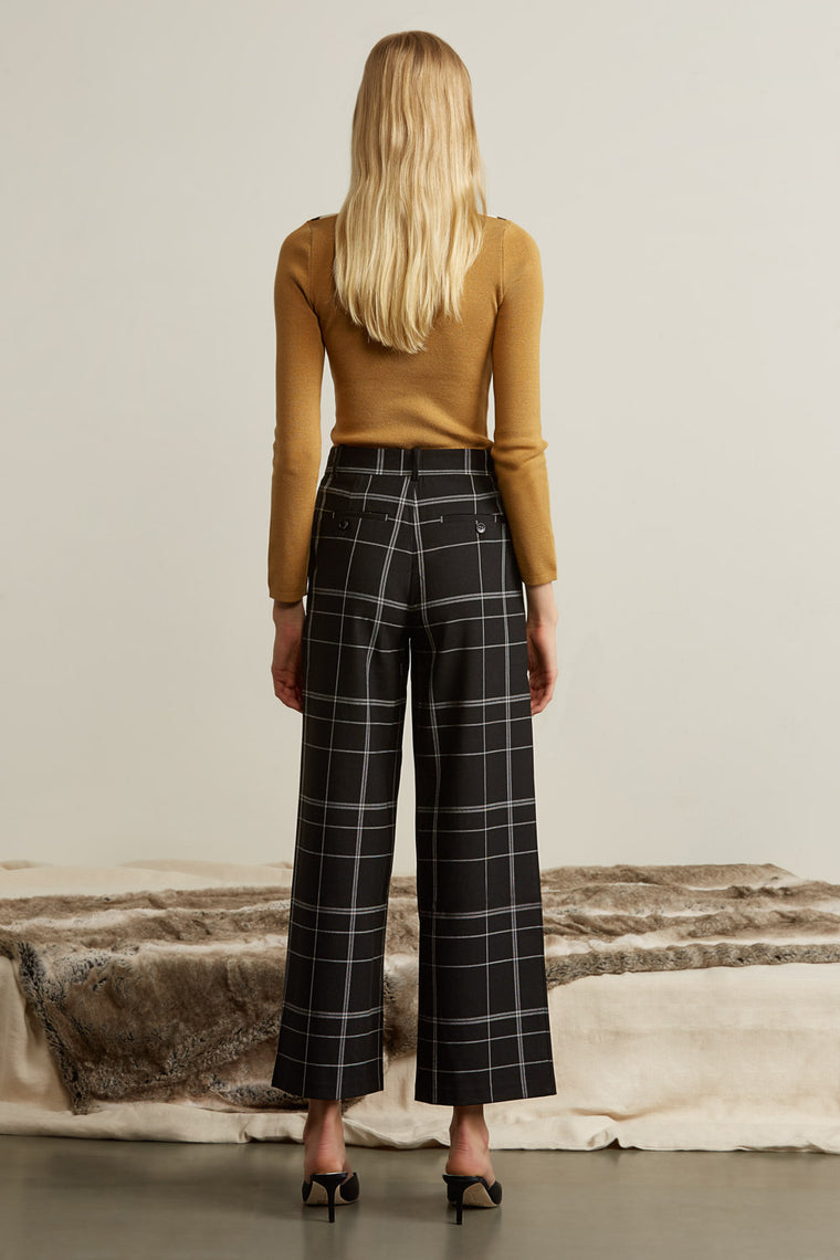 Wool Blend Plaid Pants