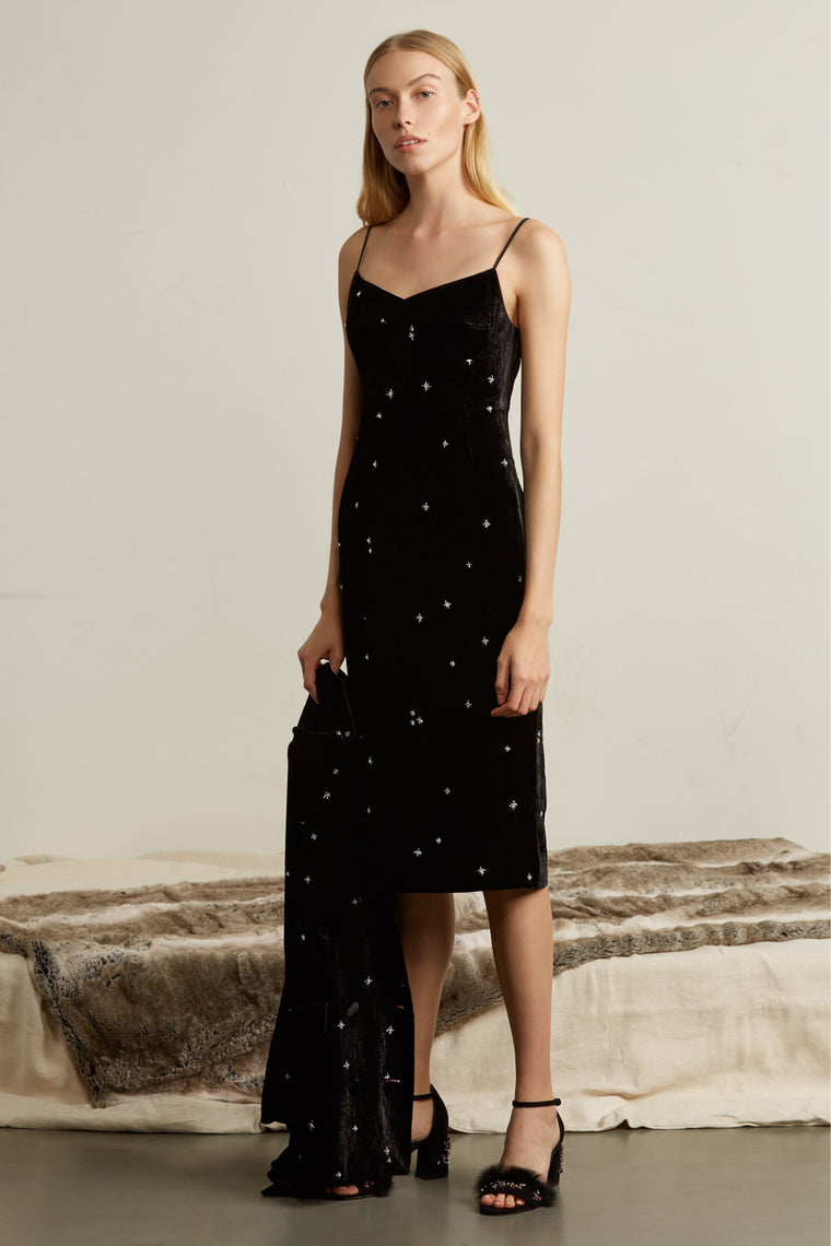 Velvet Crystal Embellished Slip Dress