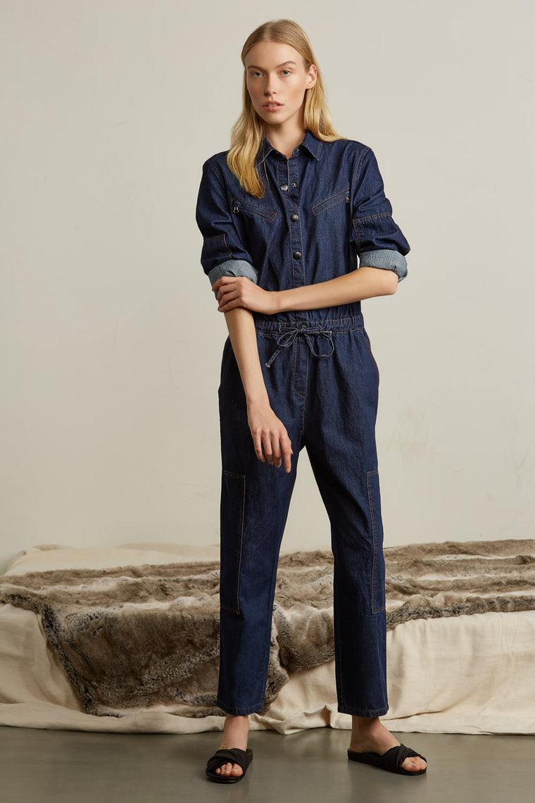 Cinched Waist Denim Jumpsuit
