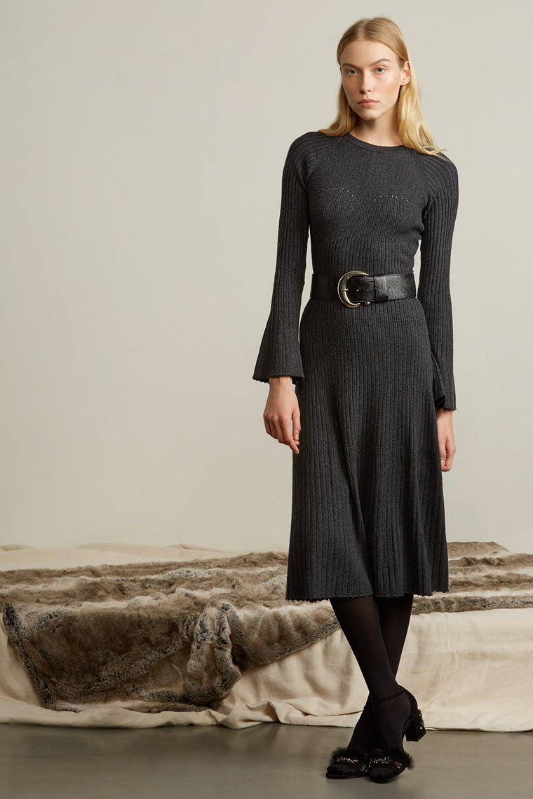 Bell Sleeve Knit Midi Dress
