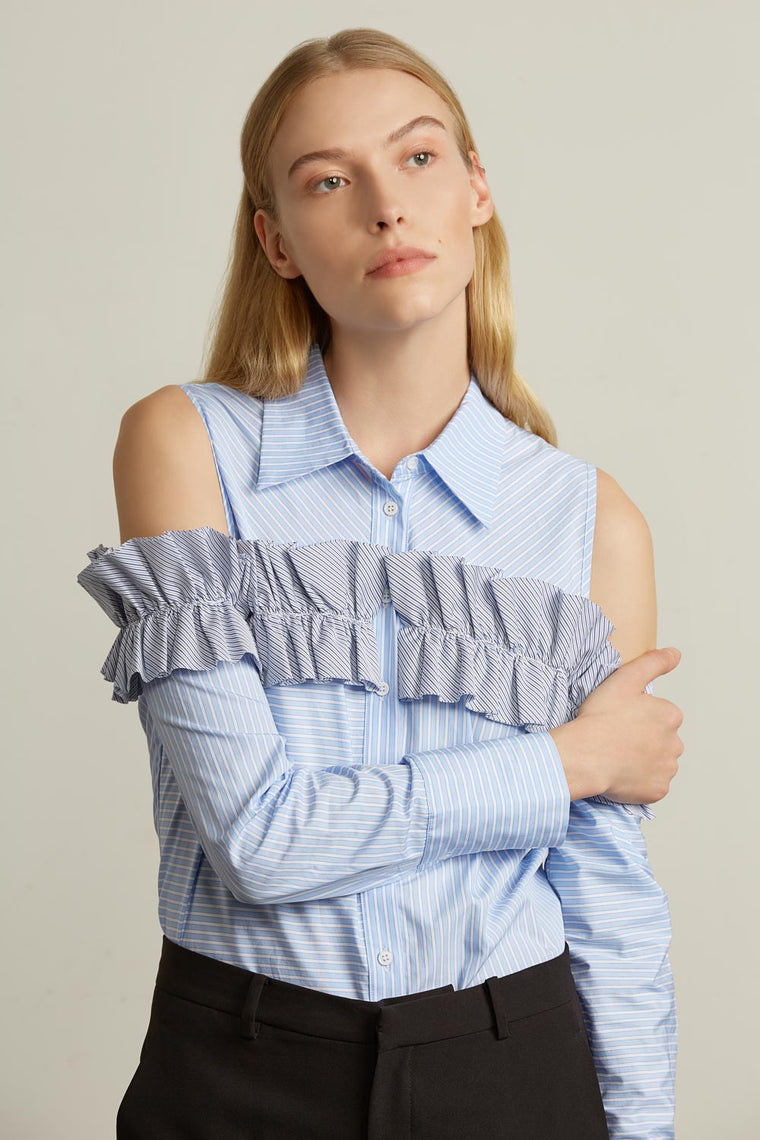 Ruffle Stripe Collared Shirt